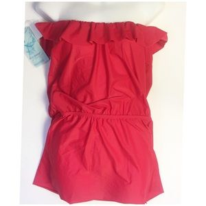 ECO RED STRAPLESS SWIM DRESS COVER UP SMALL NEW